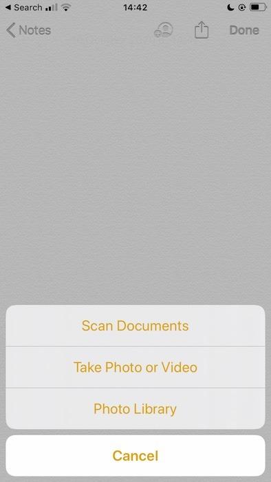 Quét tài liệu bằng ứng dụng Apple Notes.
