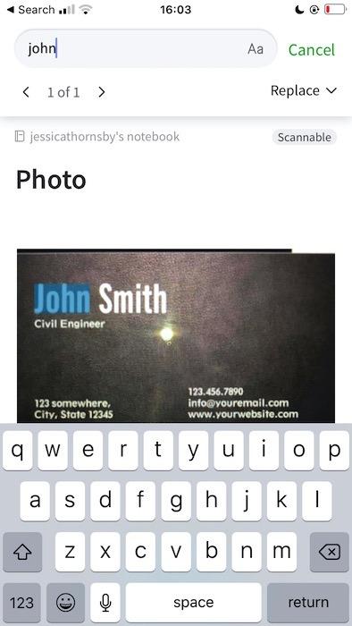 Tìm kiếm văn bản bên trong hình ảnh, sử dụng ứng dụng Evernote chính.