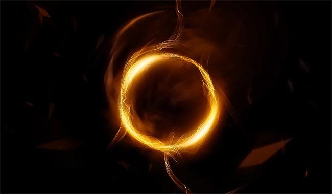 Vòng tròn vàng trừu tượng