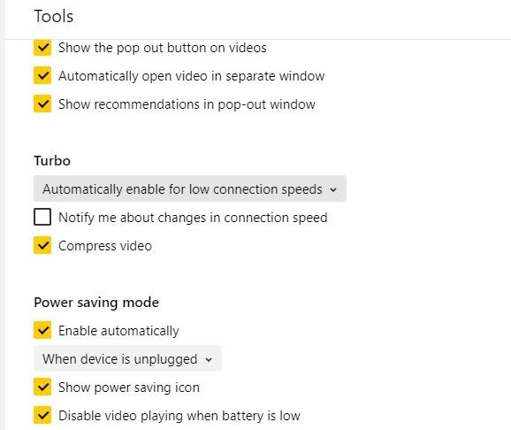 Trình duyệt nhẹ Yandex Turbo Mode Tiết kiệm năng lượng