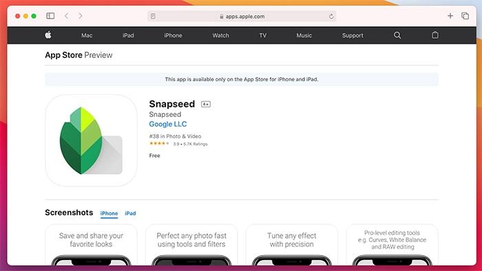 Ứng dụng chỉnh sửa ảnh trên Ios Snapseed