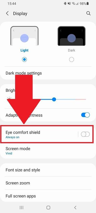 Cài đặt hiển thị Android Blue Light