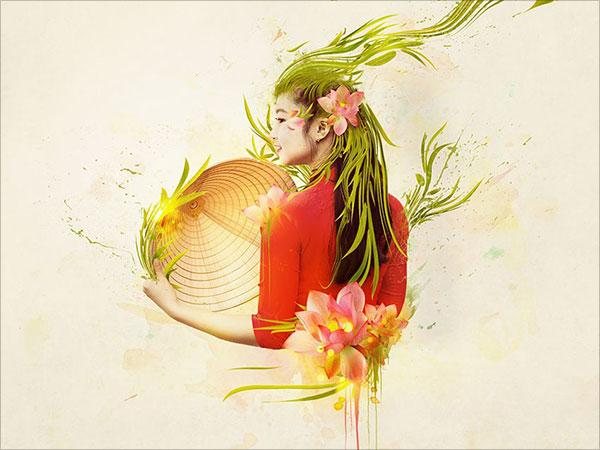 Trừu Tượng-Việt-Phụ-Nữ-Chân-Dung-Trong-Adobe-Photoshop