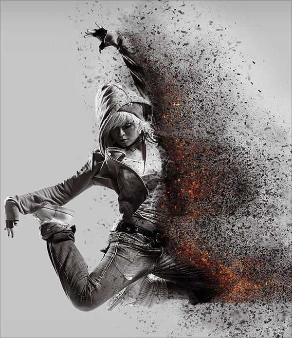 Tro - & - Than hồng-Phân tán-Hành động-trong-Adobe-Photoshop