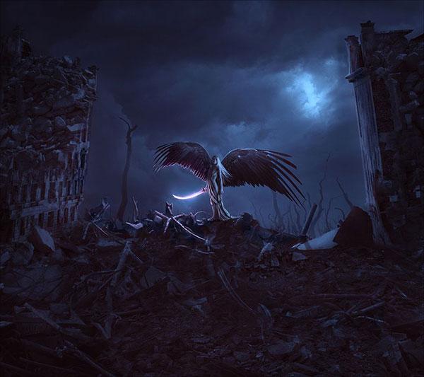 Tận thế-Thiên thần-Ảnh-Thao tác-Cảnh-Với-Adobe-Photoshop