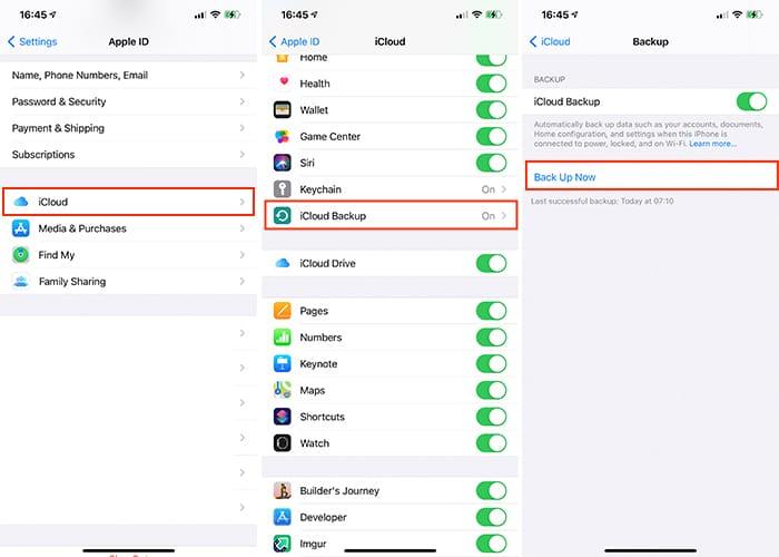 Sao lưu ứng dụng Cài đặt Iphone Icloud