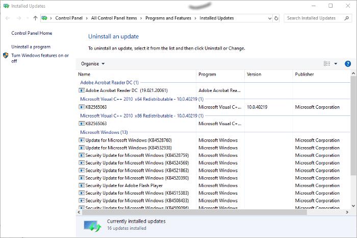 Sự cố cập nhật Windows 10 Gỡ cài đặt bản cập nhật