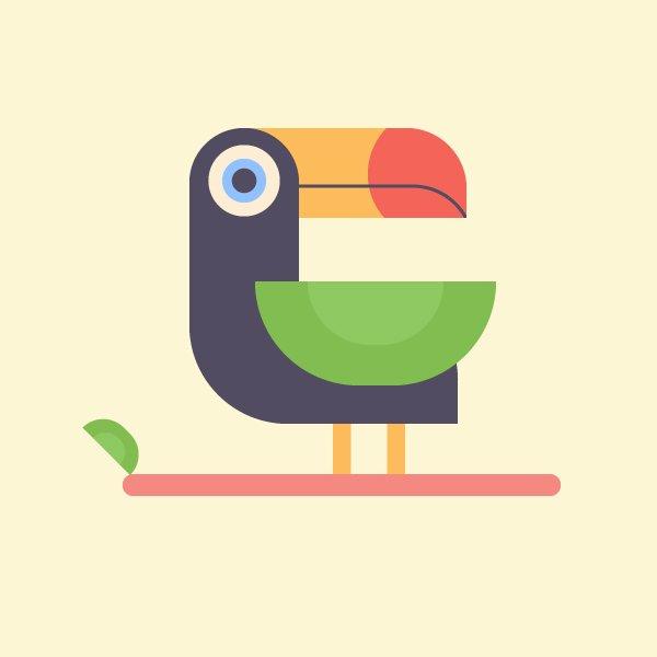 Hướng dẫn cách thiết kế chim chạm đất nhiệt đới trong Adobe Illustrator CC