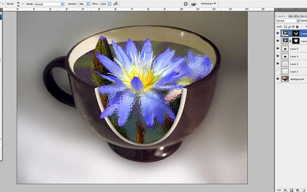 Tạo một bông hoa súng trong một hiệu ứng cốc trong Photoshop 29