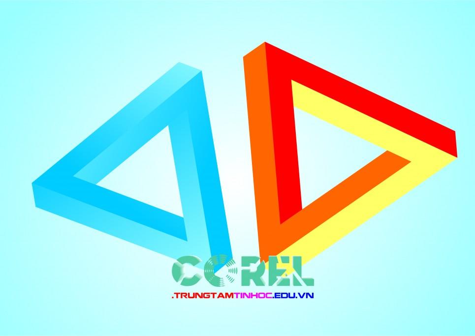 Vẽ logo 3D tam giác bằng Corel